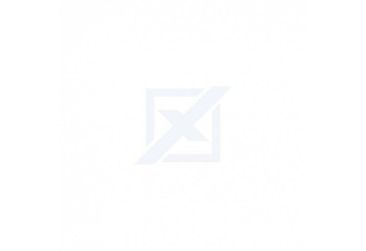 Dětská patrová postel FOX + rošt + matrace ZDARMA, 190x80, borovice/modrý - vláčci