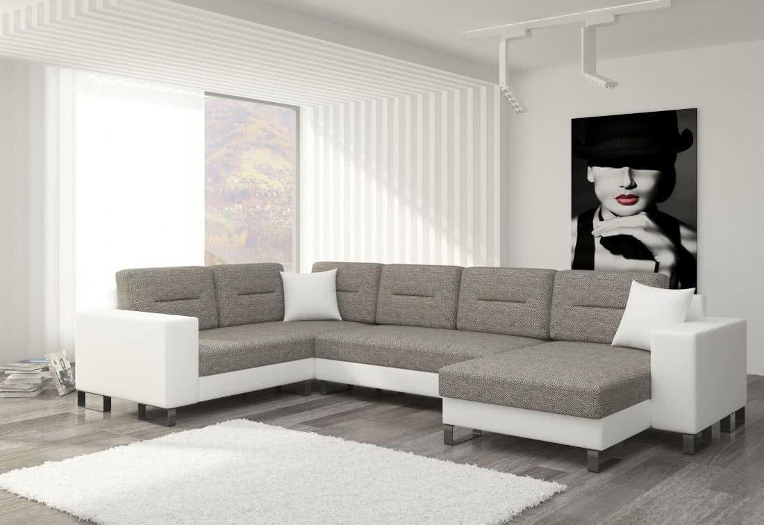 Rozkládací sedačka do U MEDY, 330x86x206/145, berlin01/soft017white, pravá