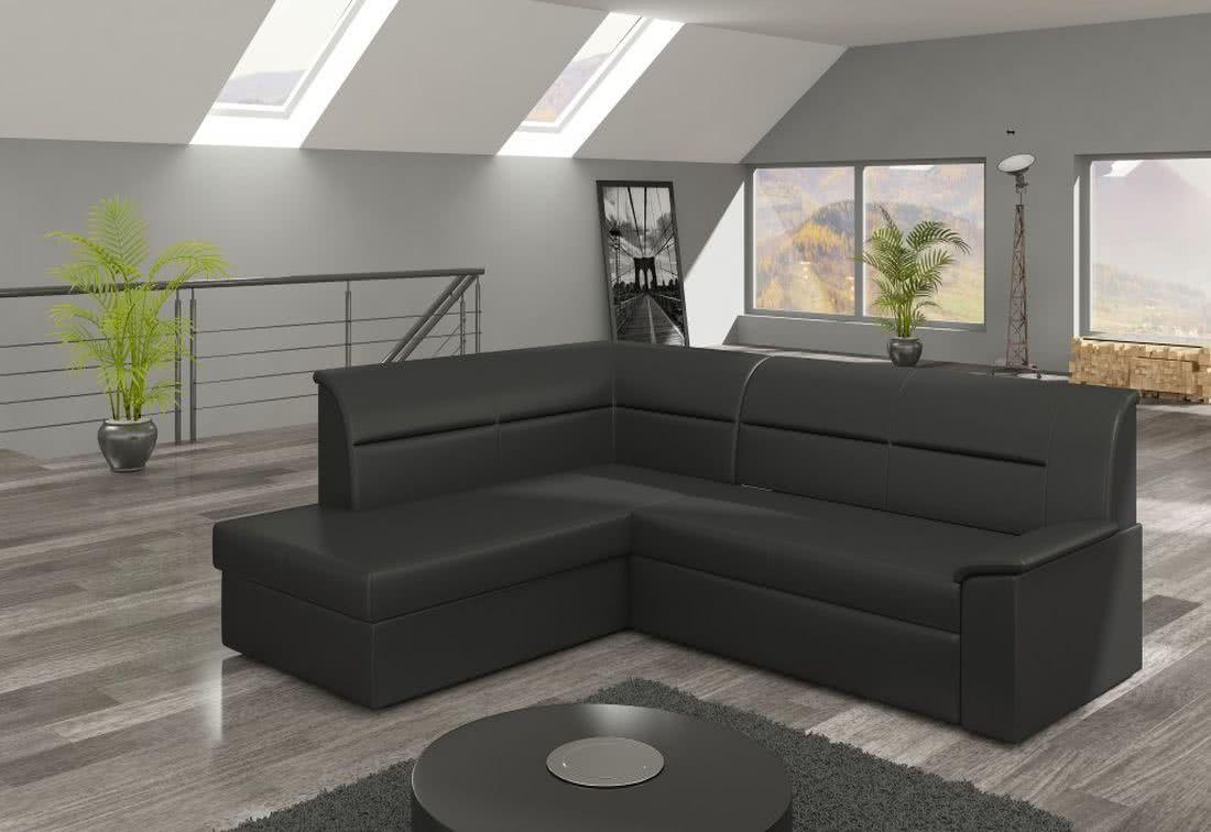 Rohová sedačka ROBERTO, 250x87x208, soft011black, levá