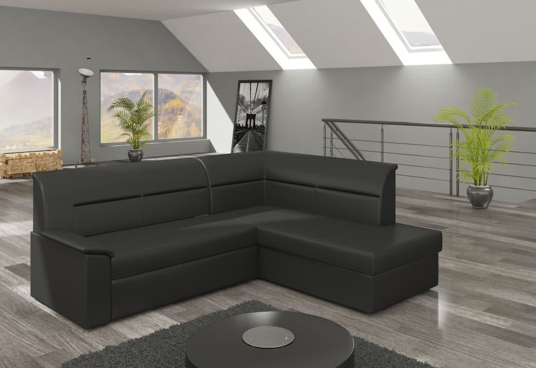 Rohová sedačka ROBERTO, 250x87x208, soft011black, pravá