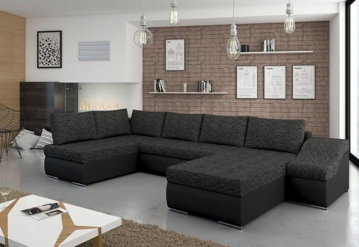 Rozkládací sedací souprava do U DON JON, 365x90x195, berlin02/soft011black, pravá