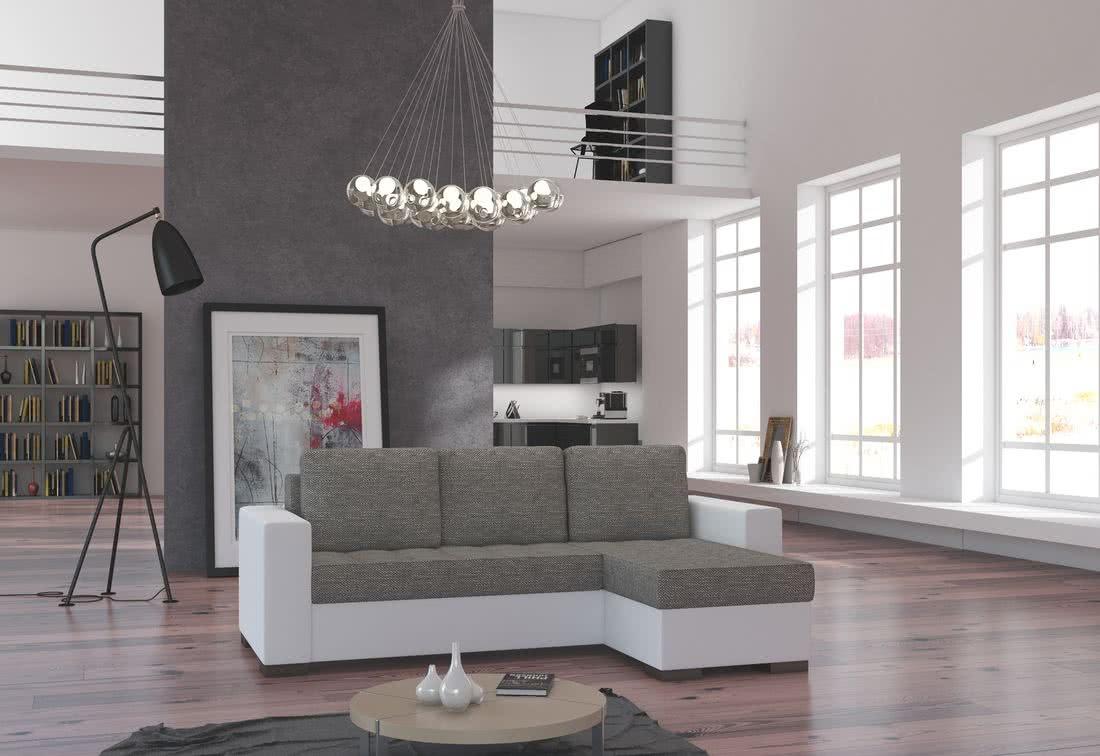 Rohová sedačka ALESSIA, 237x90x150, berlin01/soft017white, pravá