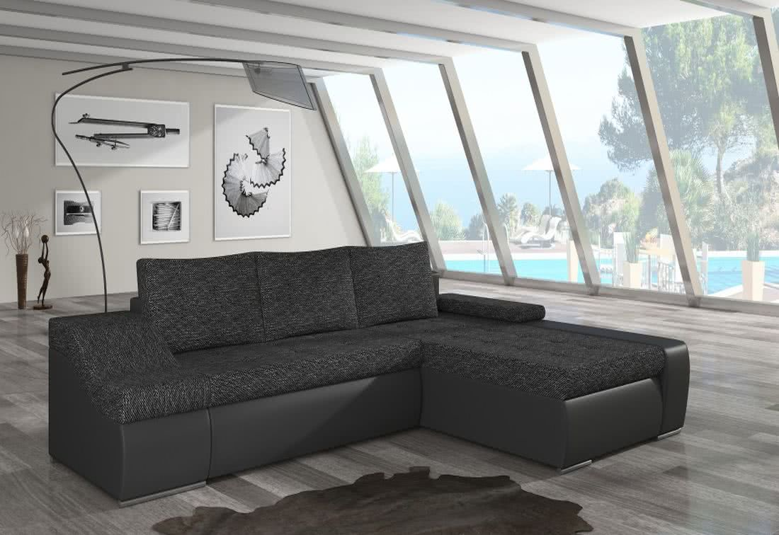 Rozkládací sedačka VENCOUVER, 295x90x195, berlin02/soft011black, pravá