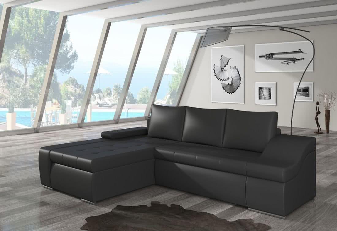 Rozkládací sedačka VENCOUVER, 295x90x195, soft011black, levá