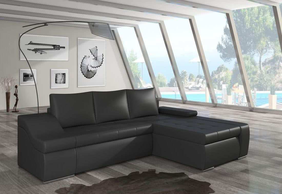 Rozkládací sedačka VENCOUVER, 295x90x195, soft011black, pravá