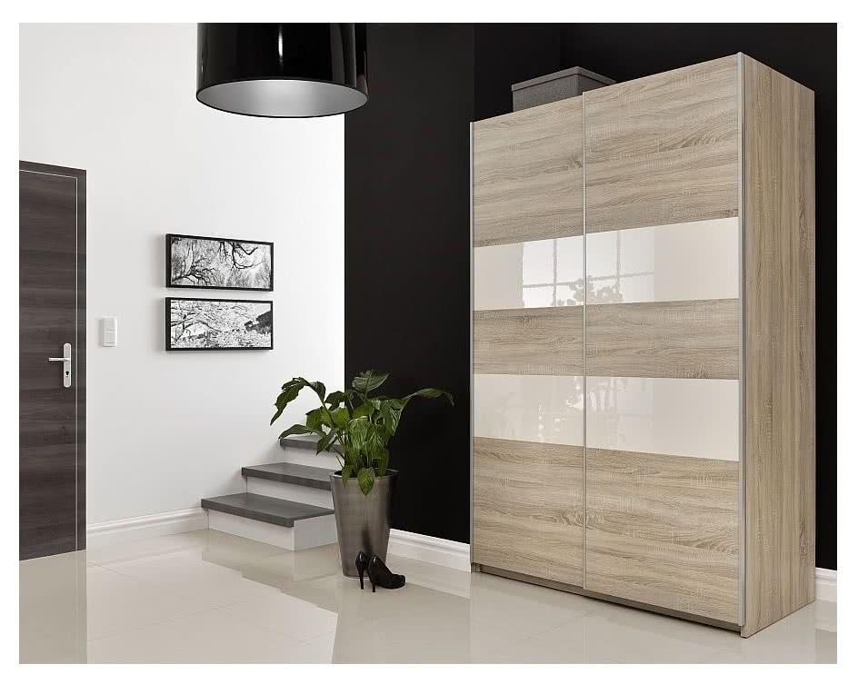Šatní skříň VALE 140, 215x138x69, Dub sonoma/bílý lesk