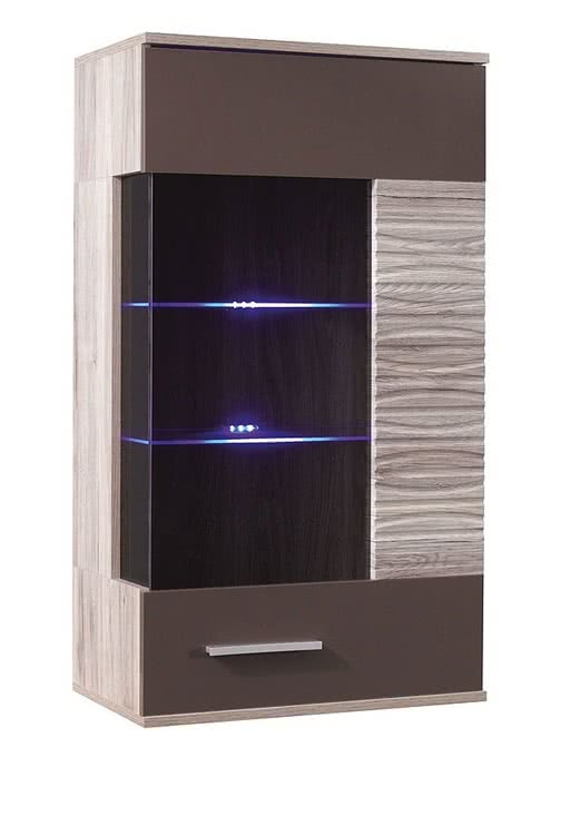 Vitrína VALE 60 ST, 108x60x34, Dub San Remo/hnědý lesk, bílé LED