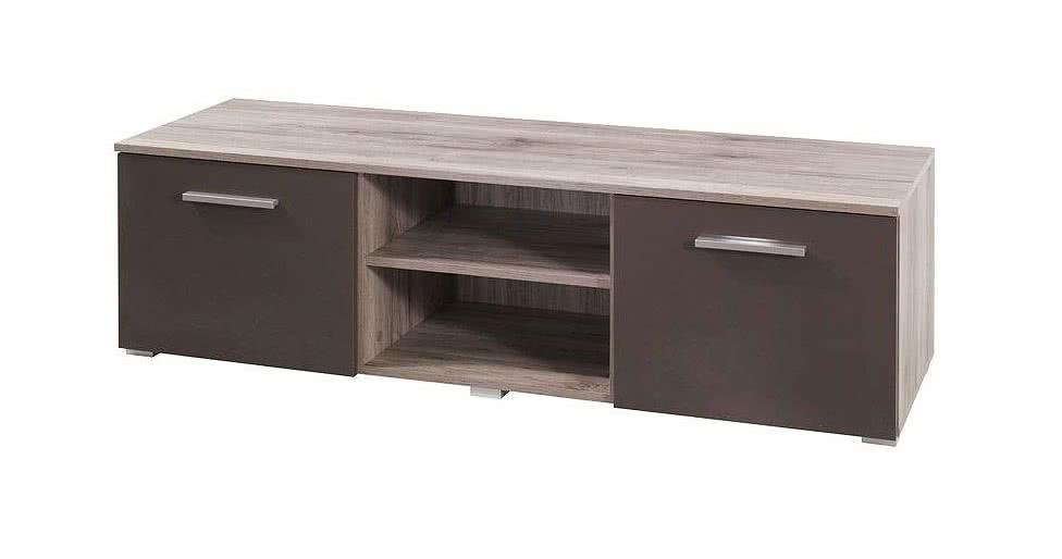 Televizní stolek VALE RTV 150, 41x150x41, Dub San Remo/hnědý lesk
