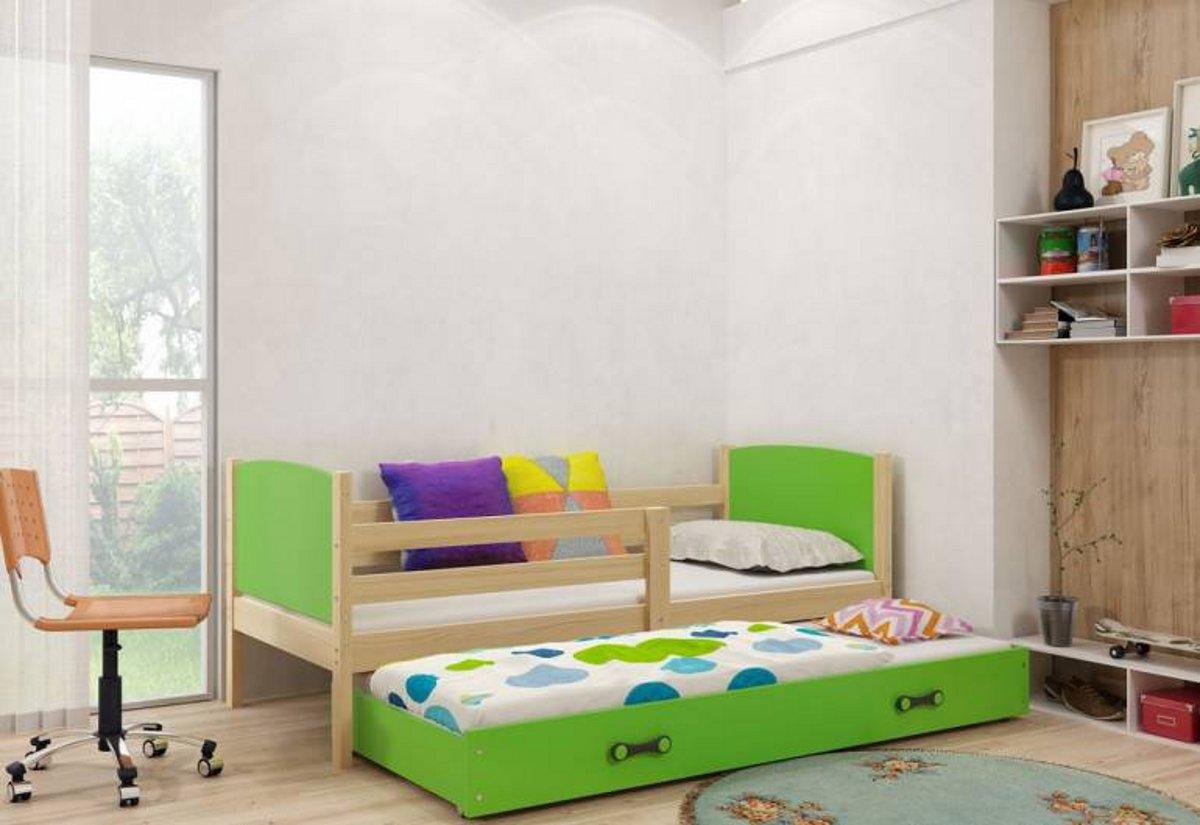 Dětská postel BRENEN 2 + matrace + rošt ZDARMA, 90x200, borovice, zelená