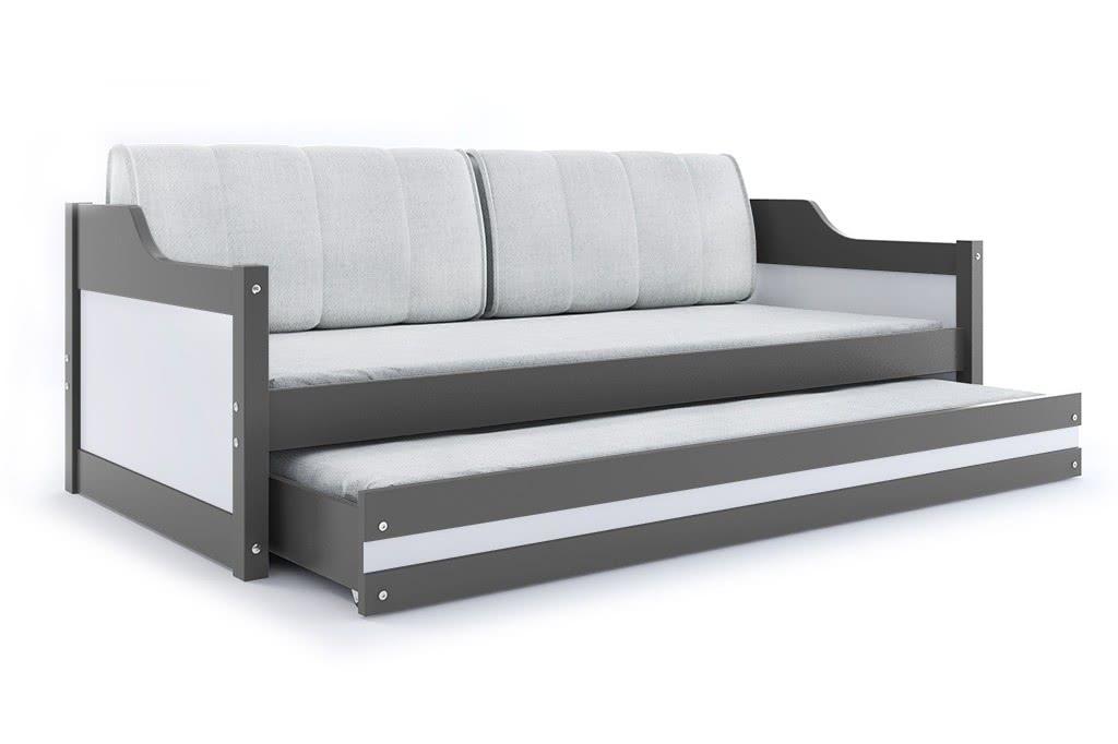 Dětská postel CASPER 2 + matrace + rošt ZDARMA, 90x200, grafit, bílá