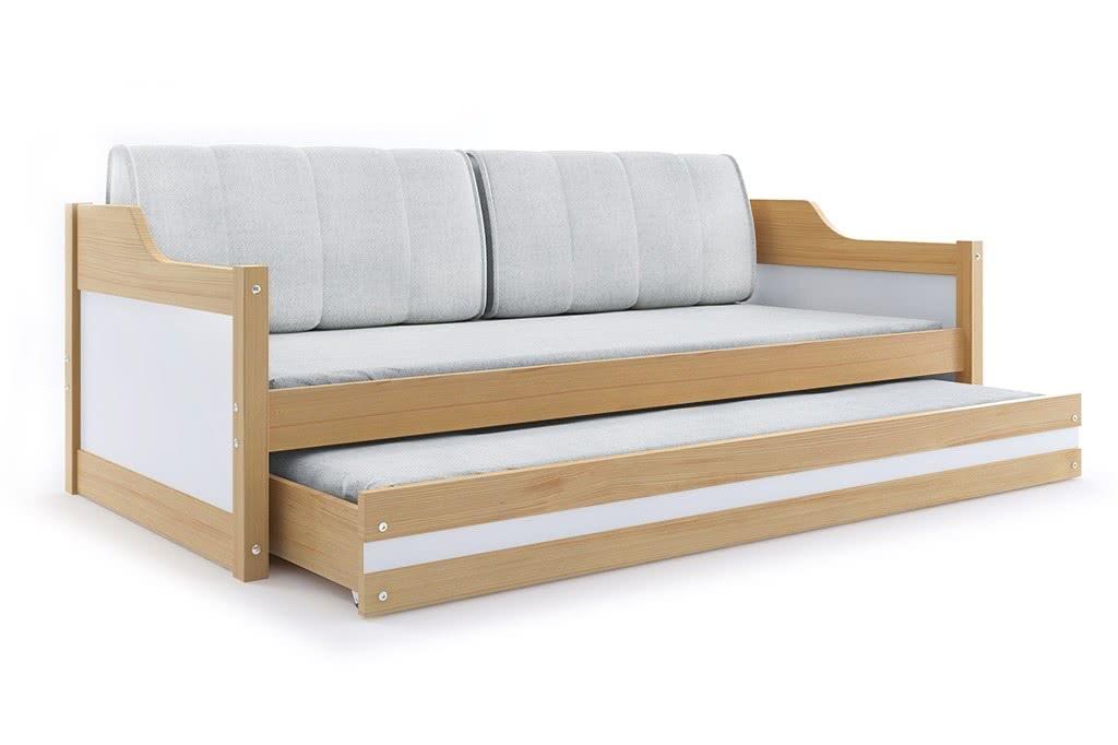 Dětská postel CASPER 2 + matrace + rošt ZDARMA, 90x200, borovice, bílá