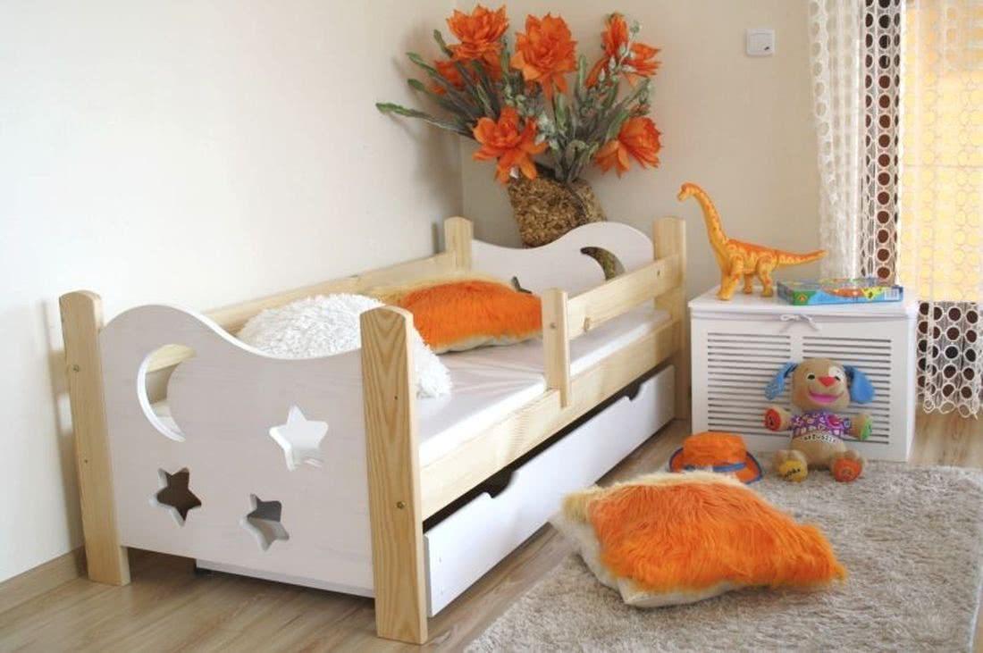 Dětská postel STAR, borovice/bílá, 70x160cm