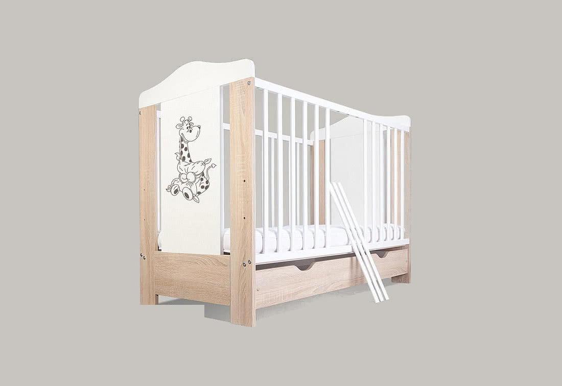 Dětská postýlka BABY ŽIRAFKA, bez úložného prostoru, dub sonoma, 120 x 60