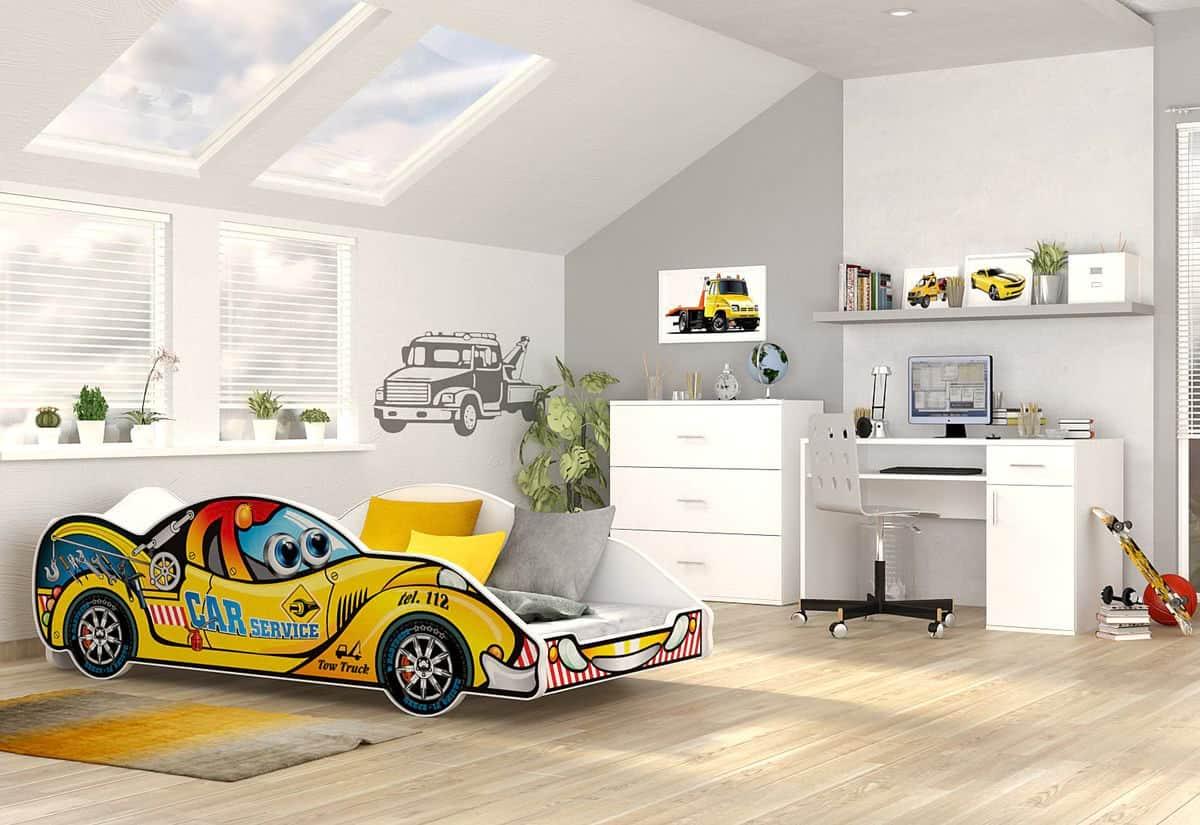 Dětská postel AUTO DRIVER + matrace + rošt ZDARMA, 90x180, VZOR 08