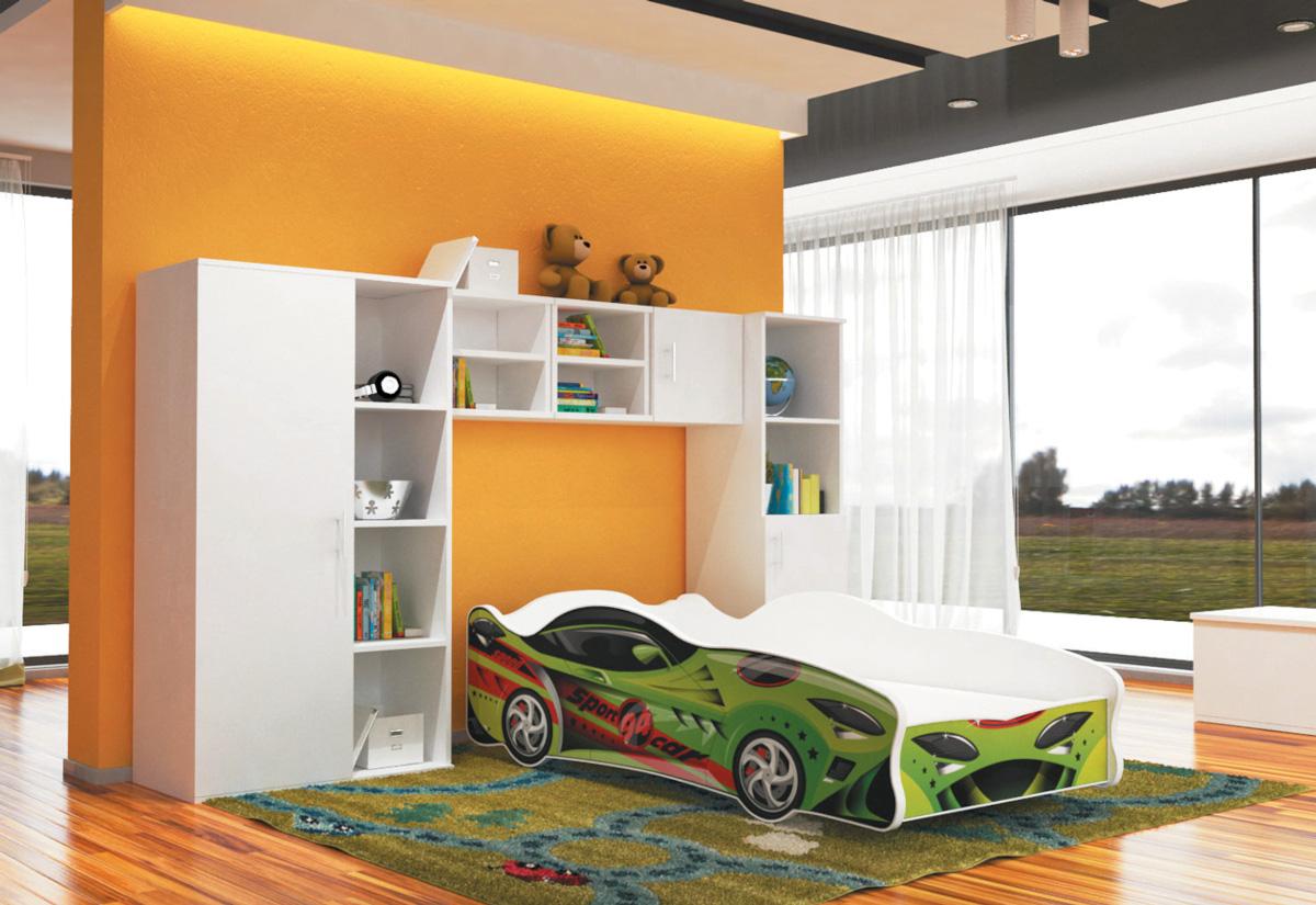 Dětská postel AUTO FLASH + matrace + rošt ZDARMA, 80x160, VZOR 15 Sport Car