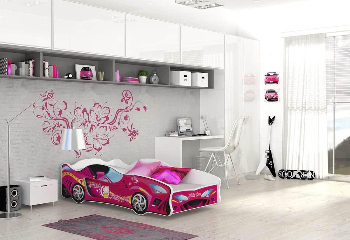 Dětská postel AUTO FLASH + matrace + rošt ZDARMA, 80x160, VZOR 14 Kitty Car