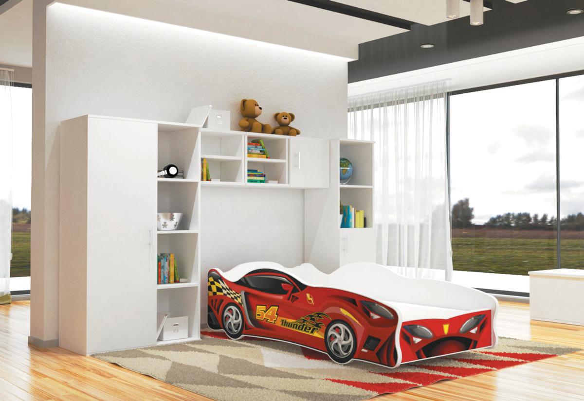 Dětská postel AUTO FLASH + matrace + rošt ZDARMA, 80x160, VZOR 10 Thunder