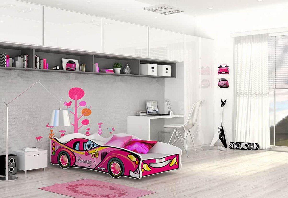 Dětská postel AUTO FLASH + matrace + rošt ZDARMA, 80x160, VZOR 06 Sweet