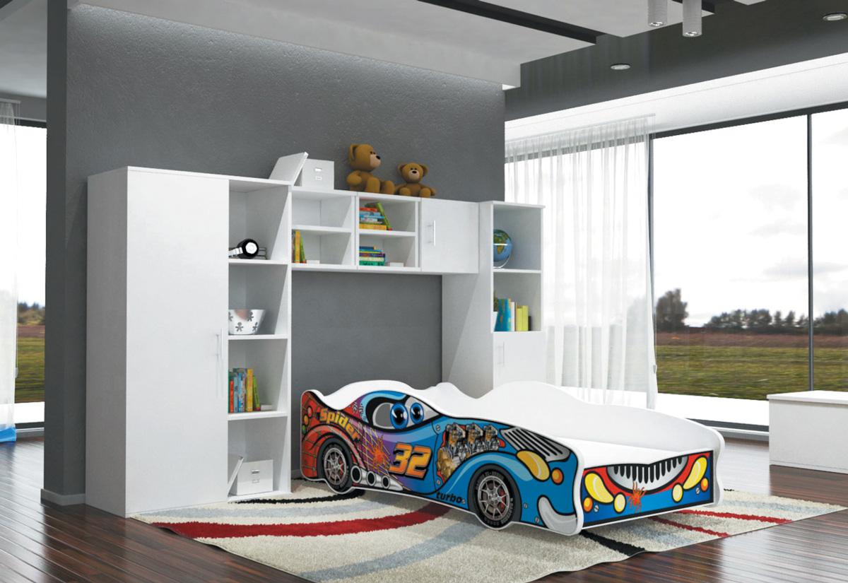 Dětská postel AUTO FLASH + matrace + rošt ZDARMA, 80x160, VZOR 04 Spider32