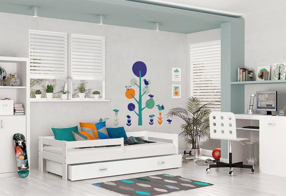 Dětská postel HARRY P1 + úložný prostor + matrace, 80x160, bílý