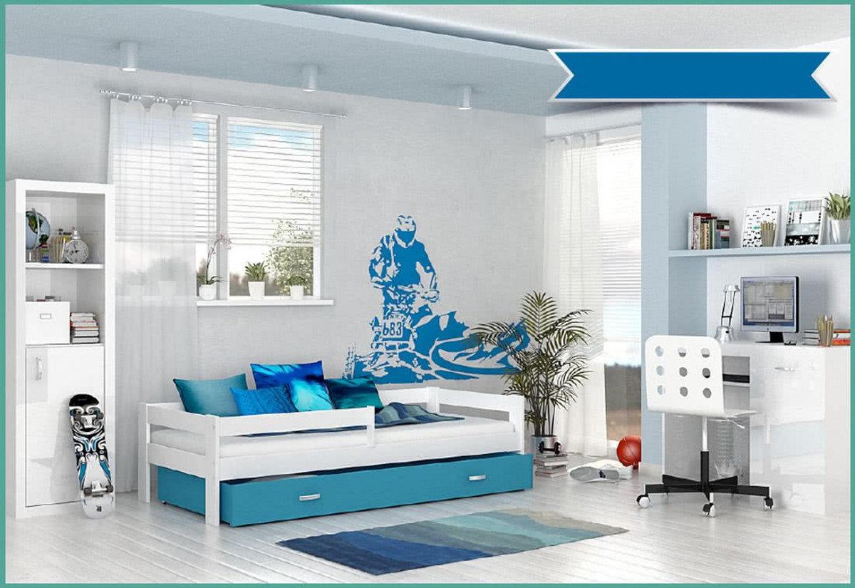 Dětská postel HARRY P1 COLOR s barevnou zásuvkou + matrace, 80x160, bílý/bílý