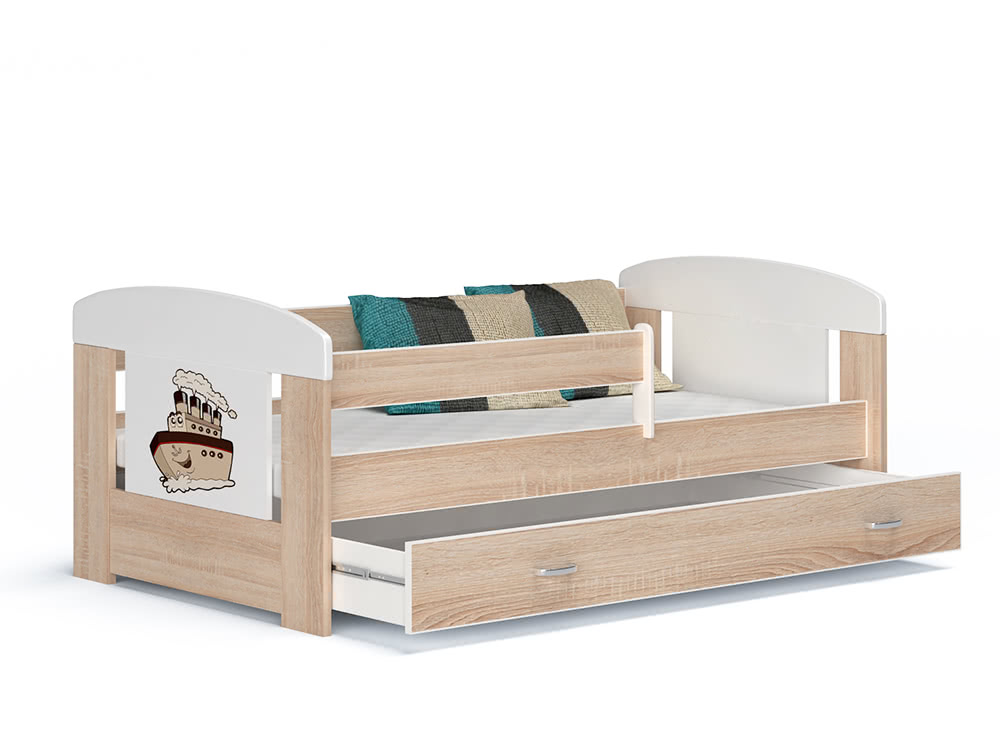 Dětská postel JAKUB, masiv + matrace + rošt ZDARMA, 80x140, včetně ÚP, dub sonoma/VZOR 02