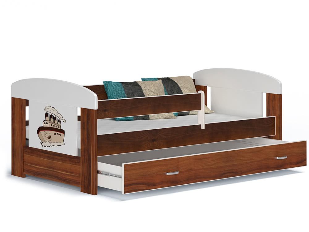 Dětská postel JAKUB, masiv + matrace + rošt ZDARMA, 80x140, včetně ÚP, havana/VZOR 01