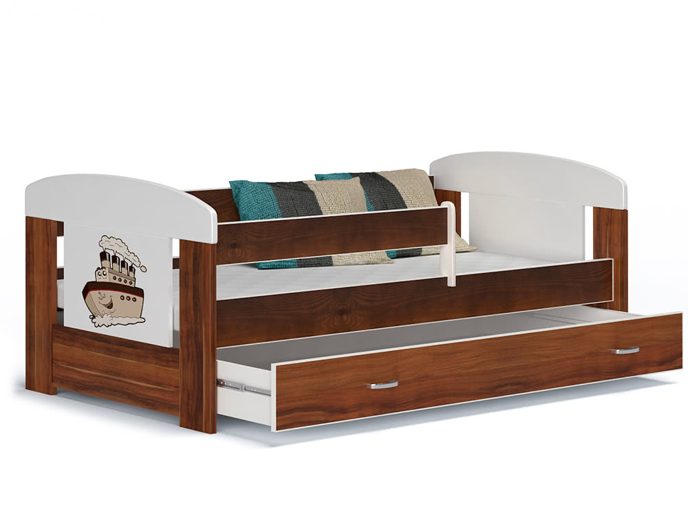 Dětská postel JAKUB, masiv + matrace + rošt ZDARMA, 80x140, včetně ÚP, havana/VZOR 04