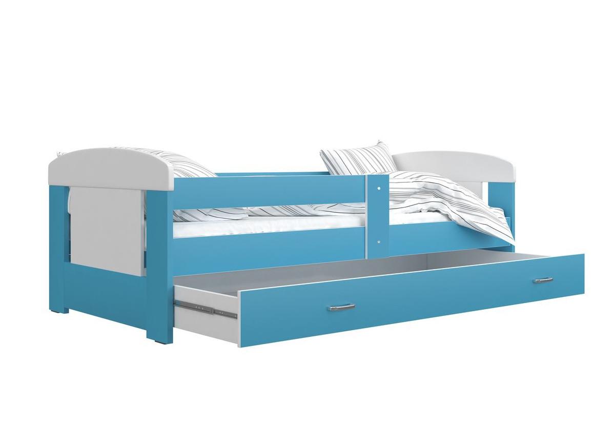 Dětská postel JAKUB P1 COLOR, 80x160, včetně ÚP, bílý/modrý