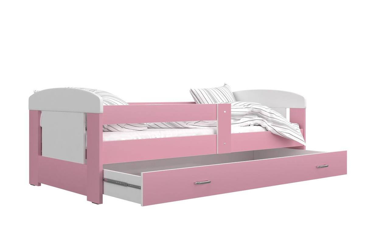Dětská postel JAKUB P1 COLOR, 80x160, včetně ÚP, bílý/růžový