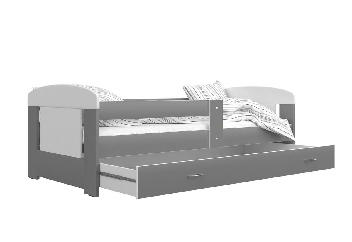 Dětská postel JAKUB P1 COLOR, 80x160, včetně ÚP, bílý/šedý