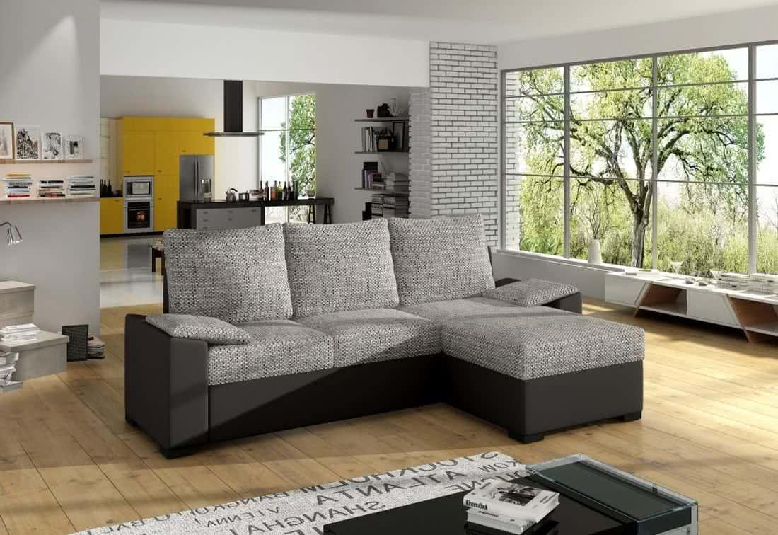 Rohová sedačka TOMASSO, 245x83x160, berlin01/soft011 black, pravá