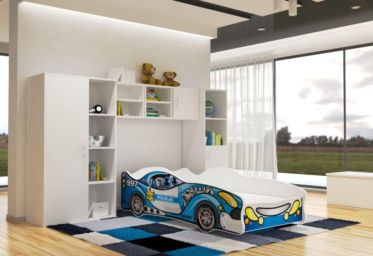 Dětská postel AUTO FLASH + matrace + rošt ZDARMA, 80x160, VZOR 03 Police