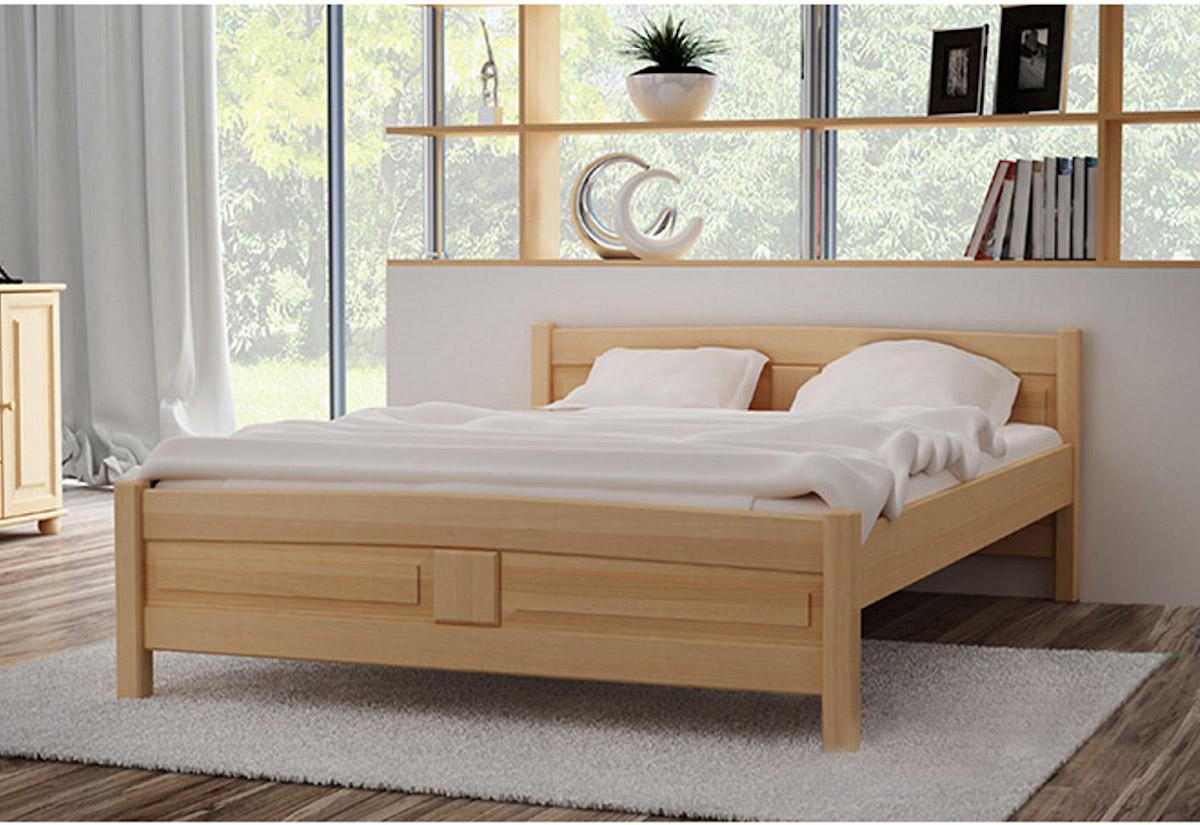 Vyvýšená postel ANGEL + sendvičová matrace MORAVIA + rošt, 160 x 200 cm, přírodní-lak