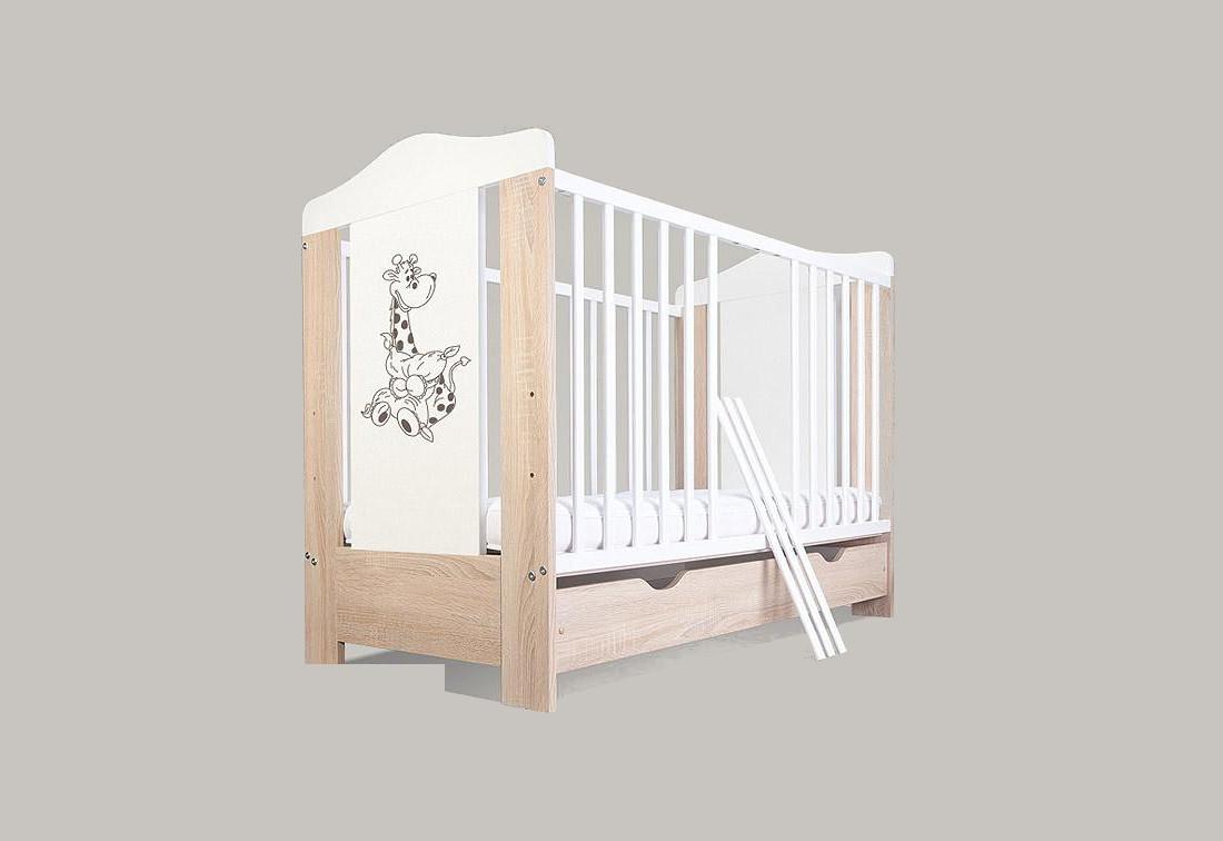 Dětská postýlka BABY ŽIRAFKA, bez úložného prostoru, bílá, 120 x 60