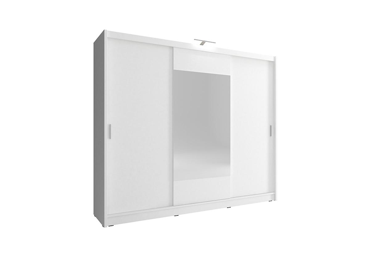 Šatní skříň WHITNEY 250, bílá, + LED, 62x214x250