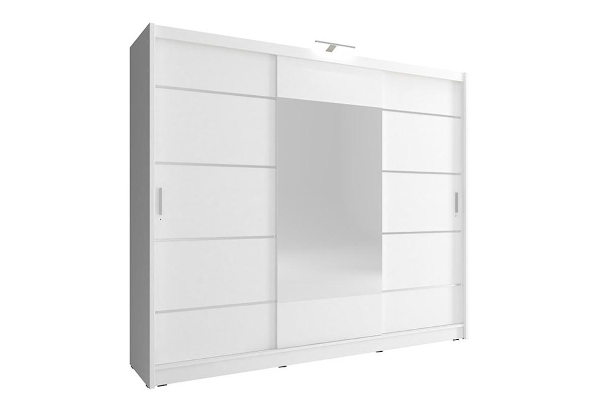 Šatní skříň WHITNEY 250 ALU, + LED, 62x214x250, bílá