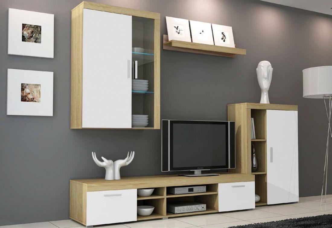Obývací stěna TIMMY 2, 270/197/32-45, + LED, dub sonoma/bílá