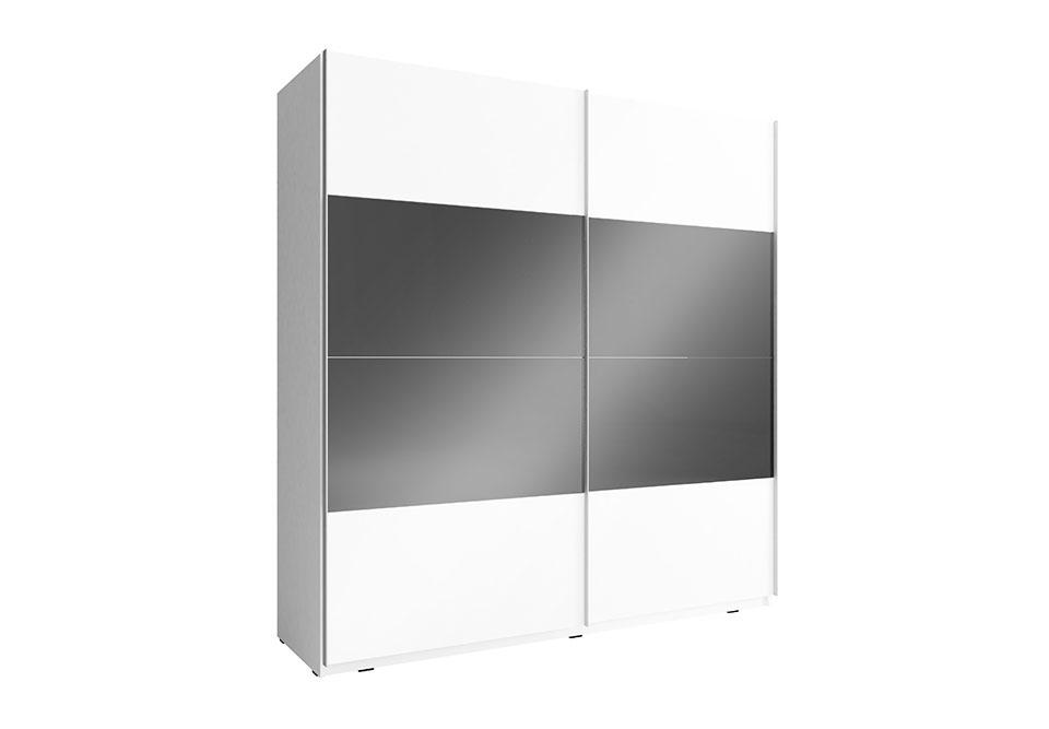 Šatní skříň MONNA MULTI, 200x214x63, bílá/bílá černá lesk