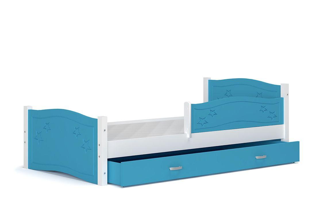 Dětská postel DIANA + matrace + rošt ZDARMA, + zábrana, 174x80, modrý