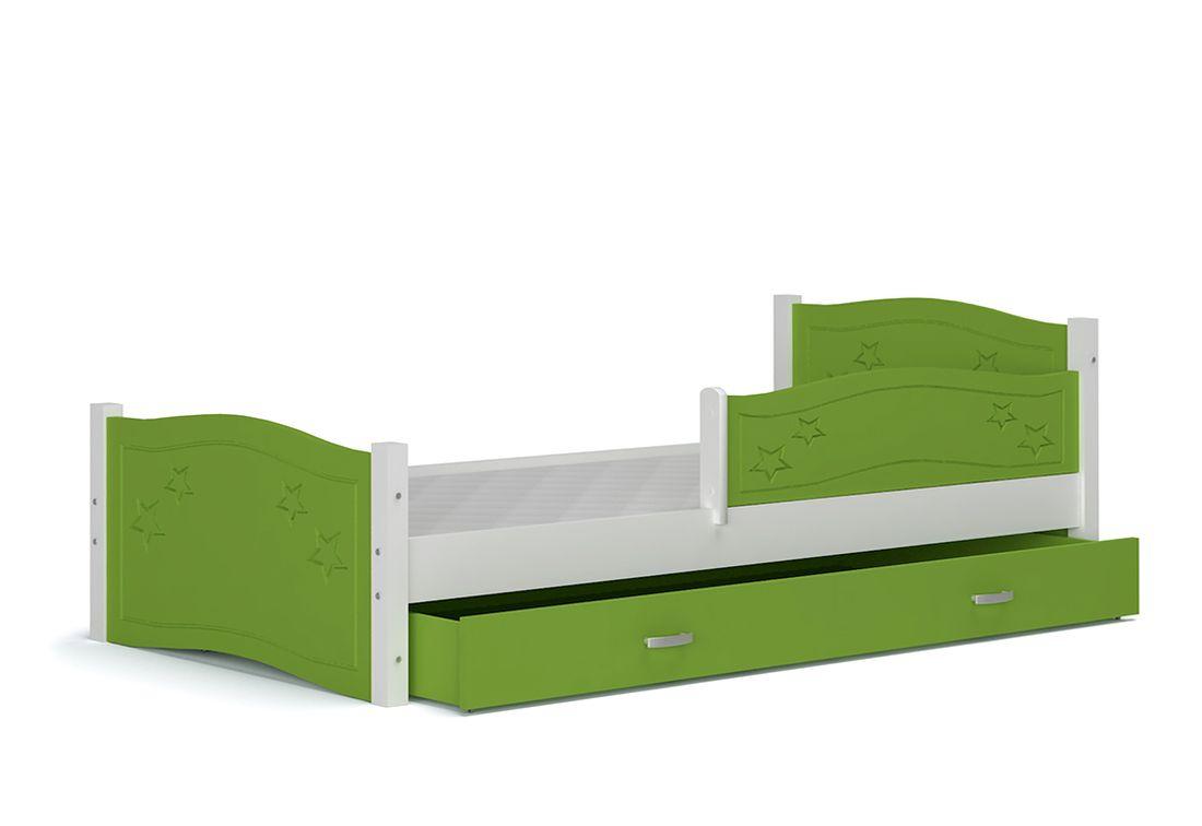 Dětská postel DIANA + matrace + rošt ZDARMA, + zábrana, 174x80, zelený