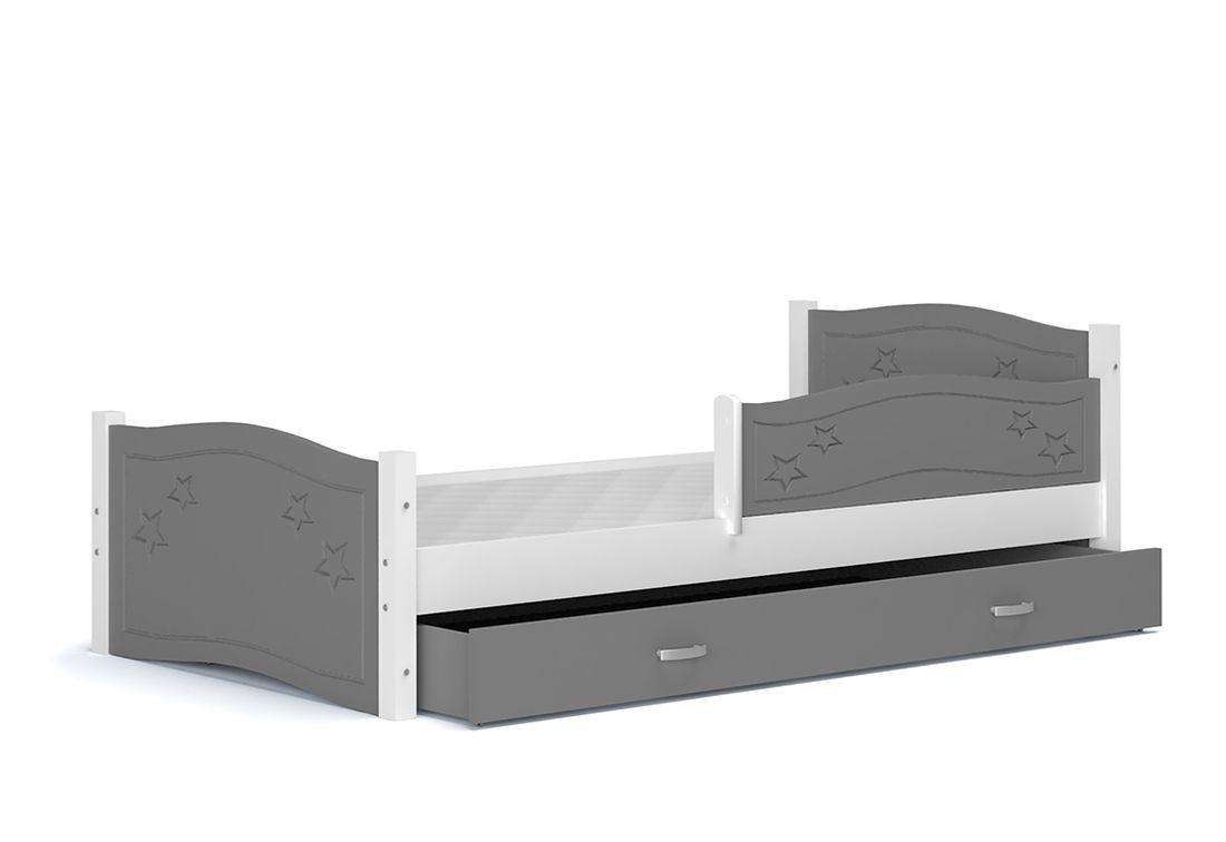 Dětská postel DIANA + matrace + rošt ZDARMA, + zábrana, 174x80, šedý