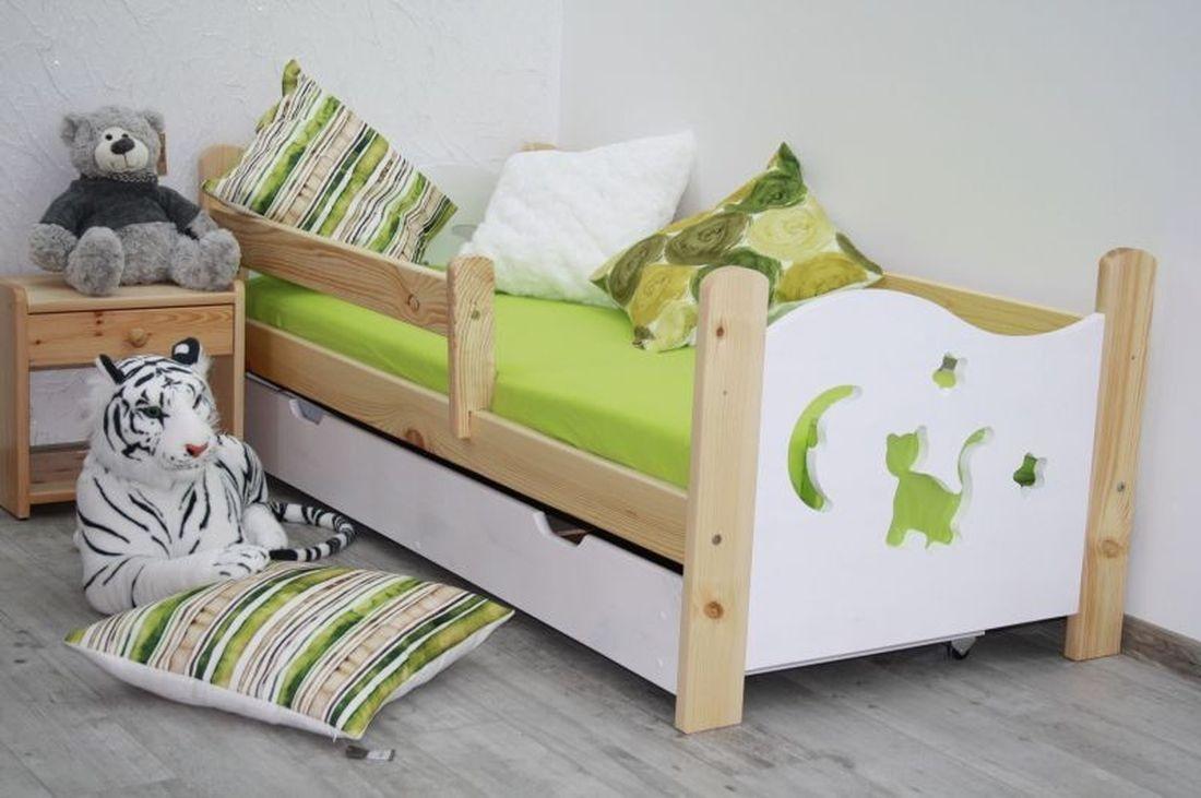 Dětská postel se zábranou MICI s přírodním úložným prostorem + rošt ZDARMA, borovice/bílá, 160x70 cm