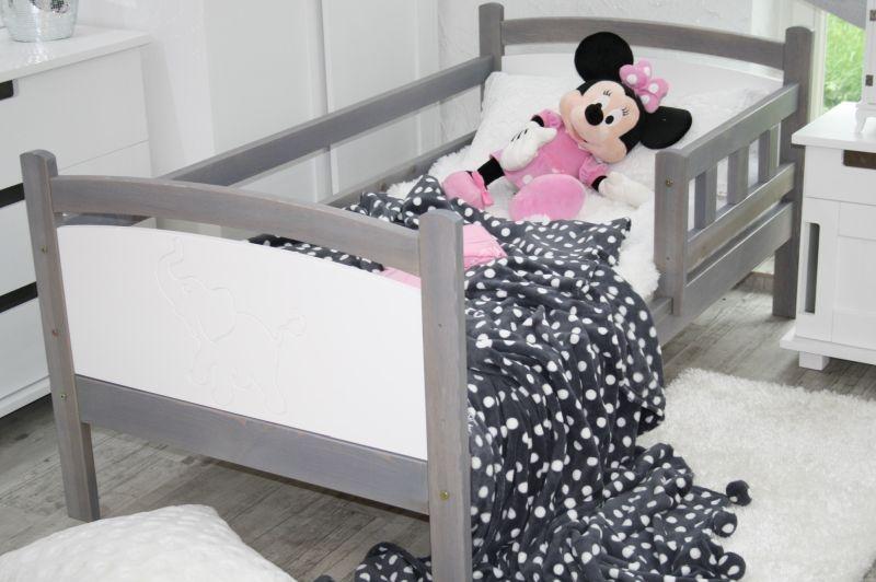 Dětská postel BENY, bez úložného prostoru, šedá/bílá, 80x160cm
