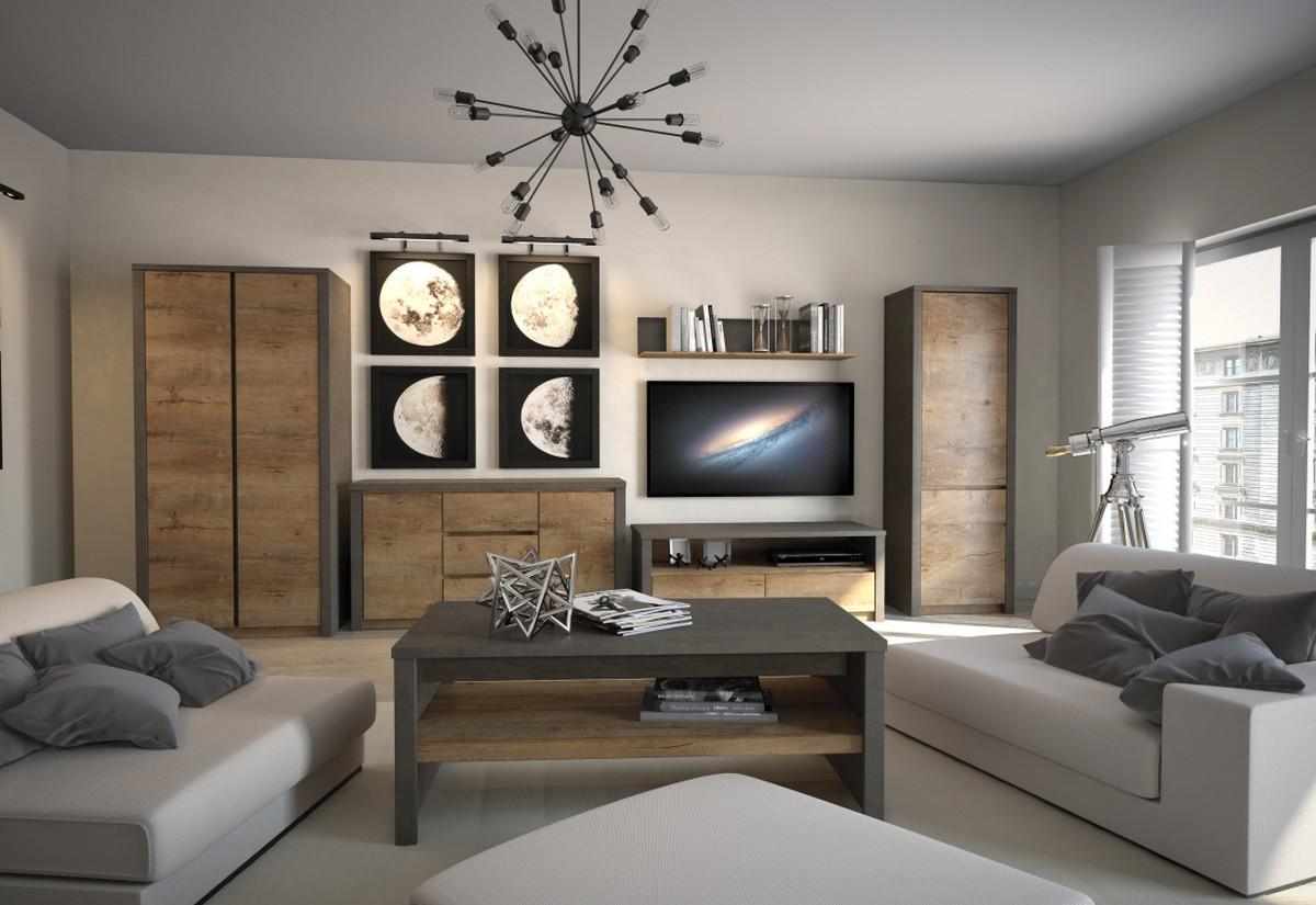 Obývací sestava COLORADO S1K6, Smooth Grey + dub Lefkas tmavý, včetně LED