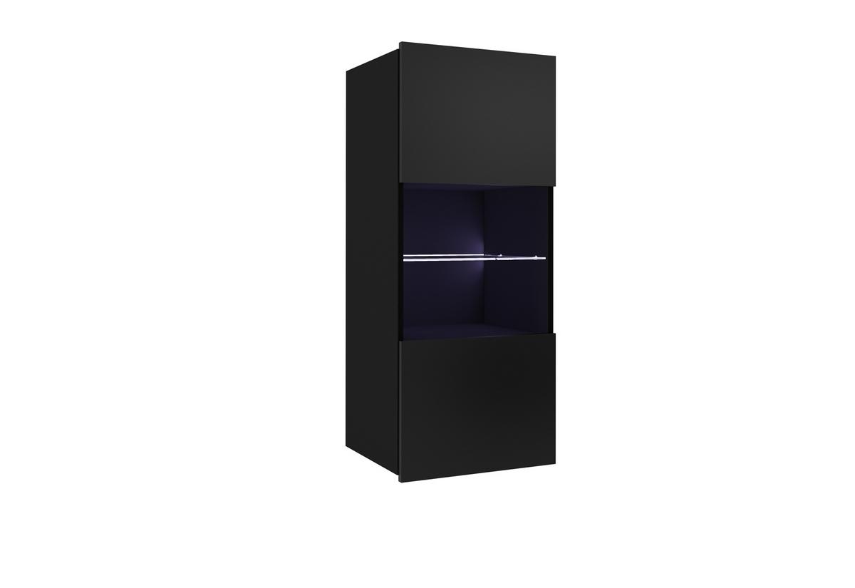 Závěsná vitrína BRINICA, 45x117x32, černá/černý lesk, + bílé LED