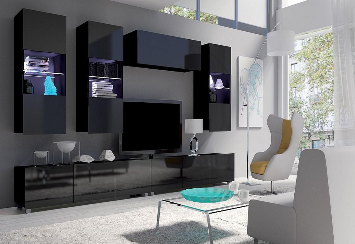 Obývací sestava BRINICA NR5, černá/černá lesk + bílé LED