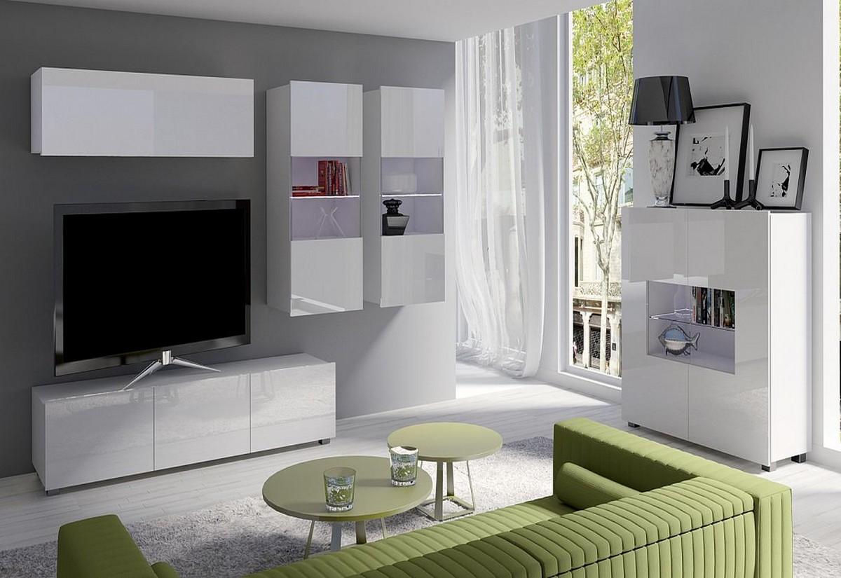 Obývací sestava BRINICA NR6, bílá/bílá lesk + bílé LED
