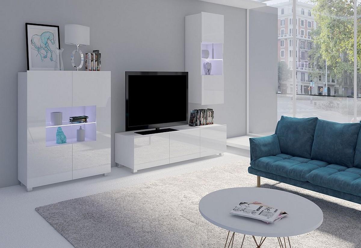 Obývací sestava BRINICA NR7, černá/černá lesk + modré LED