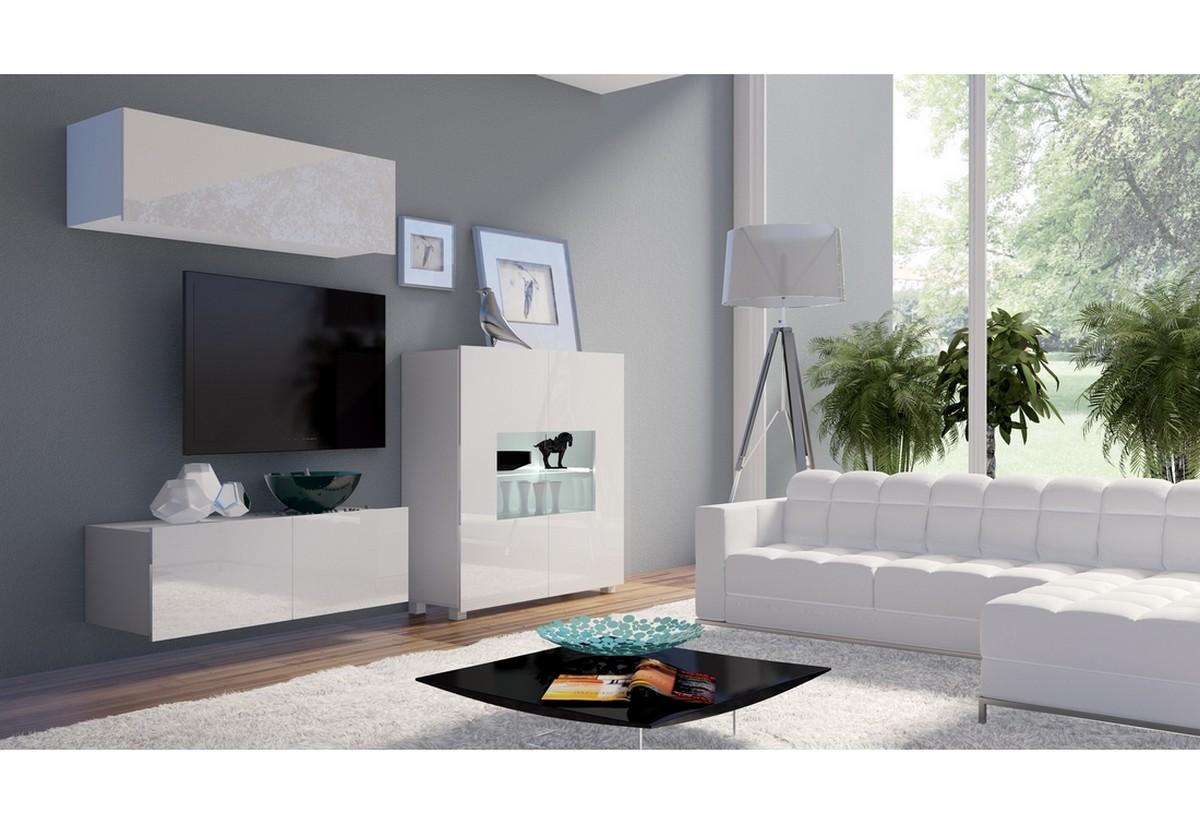 Obývací sestava BRINICA NR9, bílá/bílá lesk + bílé LED